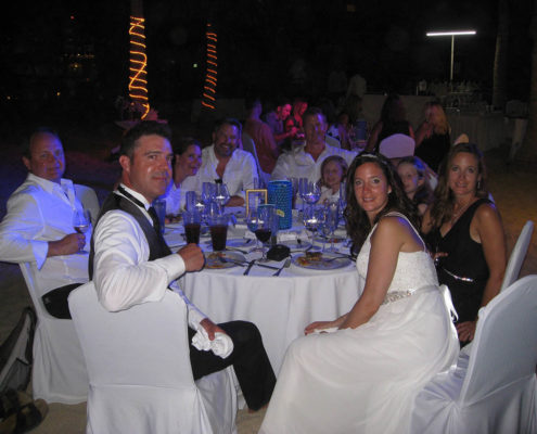 destination wedding dinner with guests