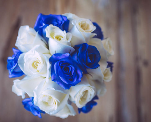 wedding bouquet of white and blue flowers