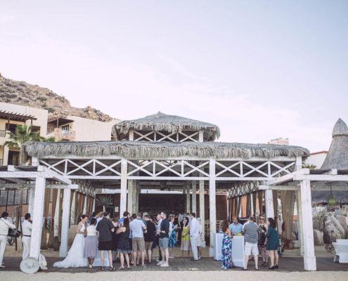 wedding reception by beach