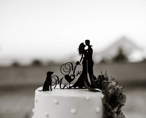 wedding cake detail with beach in background