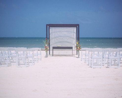 beach wedding preparations