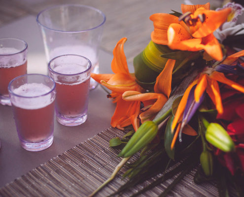 bouquet and drinks