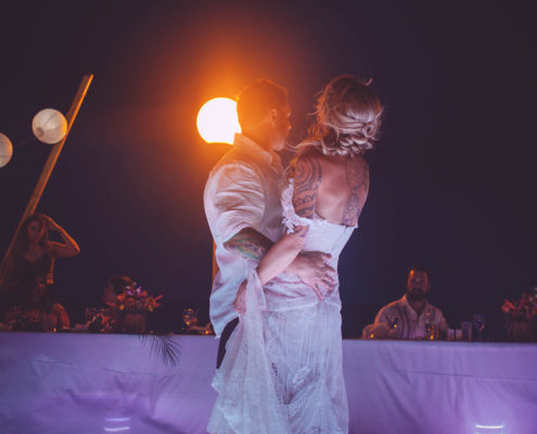 bride and groom dance their first dance as married couple